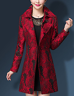 Damen Druck Einfach Arbeit Übergröße Trench Coat,Hemdkragen Herbst Winter Lange Ärmel Standard Nylon