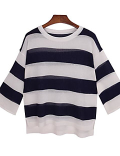 baratos Suéteres de Mulher-Mulheres Listrado Estampa Colorida Feriado Pulôver,Decote Redondo Manga 3/4 Primavera Outono