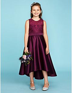 cheap Junior Bridesmaid Dresses-A-Line Princess Jewel Neck Asymmetrical Lace Satin Junior Bridesmaid Dress with Sash / Ribbon by LAN TING BRIDE®