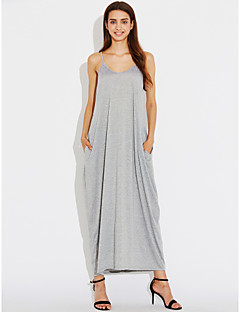 Women's A Line Dress,Solid V Neck Maxi Sleeveless Silk All Seasons High Rise Micro-elastic Thin