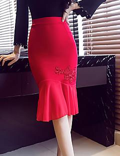 お買い得  レディーススカート-女性用 プラスサイズ ヴィンテージ マーメイド/トランペット ボディコン スカート - ソリッド