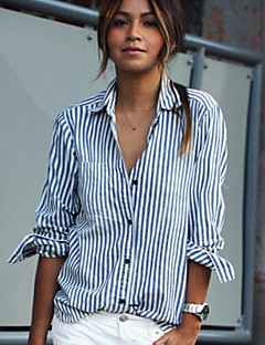 Women's Daily Casual Street chic Summer Shirt,Striped Shirt Collar Long Sleeves Cotton