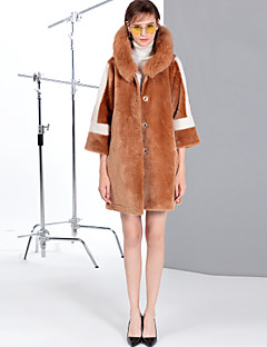 Χαμηλού Κόστους Women's Wool Coats-Γυναικεία Κανονικό Γούνινο παλτό Καθημερινά Εξόδου Απλός Βίντατζ Χαριτωμένο Καθημερινό Μονόχρωμο Συνδυασμός Χρωμάτων Χειμώνας Μαλλί Γούνα