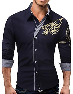 Bomull Polyester Medium Langermet,Skjortekrage Skjorte Ensfarget Dyremønster Vår Høst Enkel Bohem Chinoiserie Fritid/hverdag