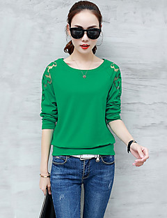 Women's Daily Sexy Spring Fall T-shirt,Solid Round Neck Long Sleeves Cotton Medium