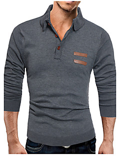 Men's Plus Size Casual/Daily Simple Boho Fall Winter Polo,Solid Shirt Collar Long Sleeves Cotton Medium