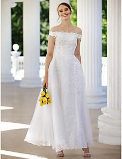 cheap High-end Wedding Dresses-A-Line / Princess Off Shoulder Ankle Length Glitter Lace Made-To-Measure Wedding Dresses with Sequin / Appliques / Crystals by LAN TING