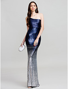 Sheath / Column One Shoulder Floor Length Polyester Formal Evening Wedding Party Dress with Sequins by Z&X