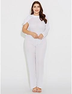 Χαμηλού Κόστους Μεγάλα Μεγέθη-Γυναικεία-Γυναικεία Μεγάλα Μεγέθη Απλός Φόρμες - Μονόχρωμο, Κοφτό Στρογγυλή Ψηλή Λαιμόκοψη / Φθινόπωρο