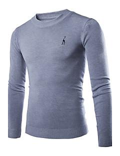 tanie Męskie swetry i swetry rozpinane-Męskie Okrągły dekolt Pulower Jendolity kolor