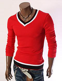 billige -Normal Pullover Sport Fritid/hverdag Herre,Ensfarget Fargeblokk Rund hals Langermet Ull Polyester Høst Vinter Medium Mikroelastisk