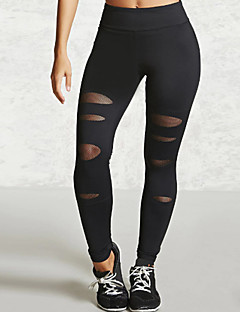 cheap Women's Pants-Women's Shredded Legging - Mesh, Solid Colored Mid Waist