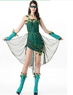 billige Halloweenkostymer-Robin Hood Kjoler Cosplay Kostumer Maskerade Dame Jul Halloween Karneval Festival / høytid Halloween-kostymer Mørkegrønn Helfarge Hul Mote