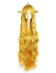 Cosplay Wigs Fairy Tail Mavis Yellow Long Anime Cosplay Wigs 120CM CM Heat Resistant Fiber Unisex