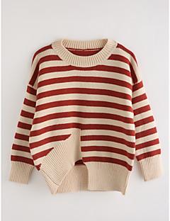cheap Girls' Sweaters & Cardigans-Girls' Stripe Blouse, Cotton Fall Long Sleeves Wine