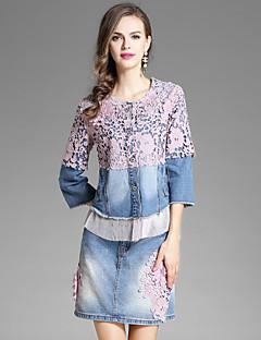 Damen Blumen Stickerei Street Schick Ausgehen Lässig/Alltäglich Bluse Rock Anzüge,Rundhalsausschnitt Herbst ¾ Ärmel Jeansstoff