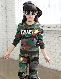 Girls' Camouflage Sets,Cotton Spandex Spring Fall Clothing Set Army Green