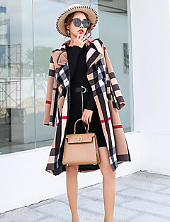 Women's Daily Street chic Fall Coat,Geometric Notch Lapel Long Sleeve Long Polyester
