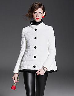 Kadın Solid Klasik & Zamansız Dışarı Çıkma Günlük/Sade Kaban,Polyester Beyaz Ördek Tüyü Normal Şişme Mont-Uzun Kollu