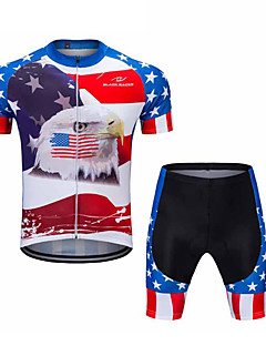 billiga Cykling-FUALRNY® Herr Kortärmad Cykeltröja med shorts - Blå / Vit Cykel Klädesset Coolmax® / Lycra