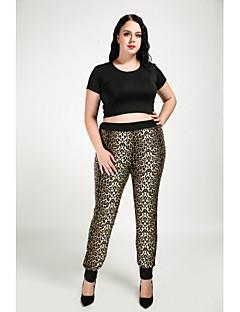 billige Bukser-Dame Store størrelser Skinny / Rett Bukser Leopard