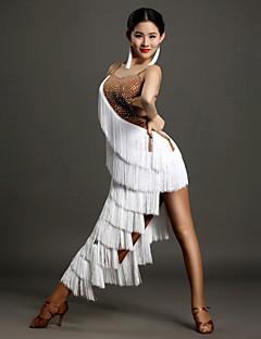 tanie Stroje do tańca latino-Taniec latynoamerykański Damskie Wydajność Lodowy jedwab Kryształy / kryształy górskie Frędzel Bez rękawów Naturalny Ubierać