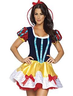 billige Halloweenkostymer-Prinsesse Queen Snø Kjoler Maskerade Dame Jul Halloween Karneval Oktoberfest Nytt År Festival / høytid Halloween-kostymer Gul Helfarge