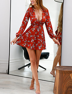 Women's Daily Holiday Street chic Sheath Dress,Floral V Neck Mini Long Sleeves Polyester Winter Fall High Rise Inelastic Medium