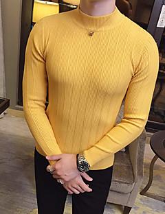 tanie Męskie swetry i swetry rozpinane-Męskie Podstawowy Szczupła Pulower - Naszywka, Jendolity kolor Długi rękaw