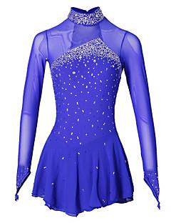 Eiskunstlaufkleid Damen Mädchen Eiskunstlaufkleider Aquamarin Elasthan Elastan Mit Steinen verziert Strass Leistung Handgemacht Langarm