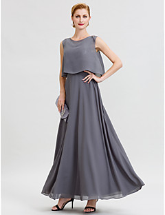 cheap Mother of the Bride Dresses-A-Line Jewel Neck Ankle Length Chiffon Sequined Mother of the Bride Dress with Beading Sashes / Ribbons by LAN TING BRIDE®
