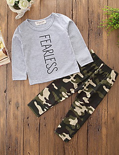 Boys' Camouflage Print Sets,Cotton Polyester Spring Fall Long Sleeve Clothing Set