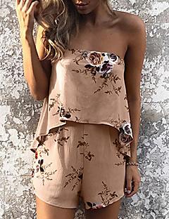 tanie Kombinezony damskie-Damskie Na co dzień Boho Śpiochy - Kwiaty, Kwiatowy Z odsłoniętymi ramionami Spodnie szerokie nogawki