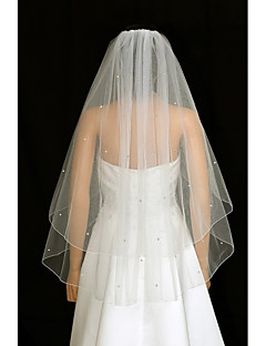 Two-tier Wedding Veil Blusher Veils Fingertip Veils With Rhinestones Ruched Tulle