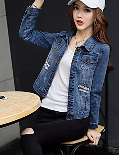 Women's Going out Chinoiserie Spring Fall Denim Jacket,Solid Shirt Collar Long Sleeve Short Cotton Polyester Embroidered