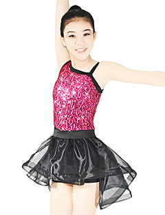 Jazz Leotards Outfits Women's Children's Performance Elastic Lycra Paillette Sleeveless Natural Skirts Leotard Headpieces