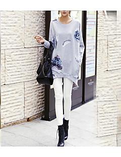 Damen Pullover Ausgehen Solide Rundhalsausschnitt Mikro-elastisch Baumwolle Lange Ärmel Herbst