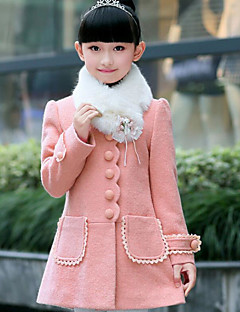 Girls' Patchwork Jacket & Coat Fall Long Sleeve Red Blushing Pink
