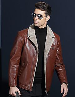 メンズ カジュアル/普段着 冬 レザージャケット,ストリートファッション ショールラペル ソリッド ショート Lambskin 長袖