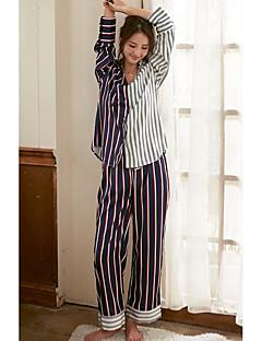 billige Moteundertøy-Dame V-hals Pyjamas - Stripet, Trykt mønster