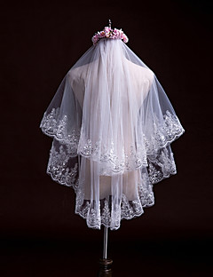 Two-tier Wedding Veil Fingertip Veils With Applique Sequin Lace Tulle