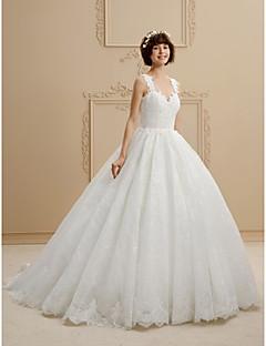billiga Plusstorlek brudklänningar-Balklänning remmar Svepsläp Tyll / Heltäckande spets Bröllopsklänningar tillverkade med Spets av LAN TING BRIDE® / Öppen Rygg