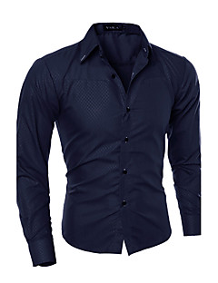 Men's Daily Going out Summer Fall Shirt,Solid Classic Collar Long Sleeves Cotton Medium