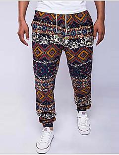 billige Herrebukser og -shorts-Herre Bomull Lin Løstsittende Tynn Chinos Bukser - Trykt mønster