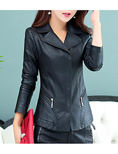 Women's Casual/Daily Simple Fall Leather Jacket,Solid Shirt Collar Long Sleeve Regular PU