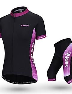 billige Sykkelklær-SANTIC Dame Kortermet Sykkeljersey med shorts - Rosa Sykkel Klessett, Pustende Polyester / Elastisk