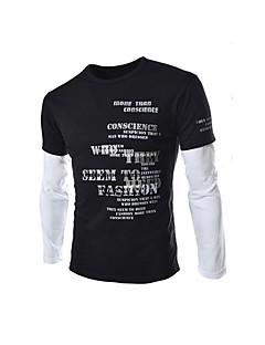 billige Herremote og klær-Bomull Langermet,V-hals T-skjorte Hundetannmønster Enkel Fritid/hverdag Herre