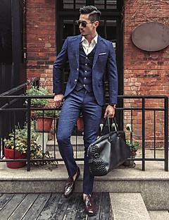 Erkek Polyester Uzun Kol Çentik Yaka Sonbahar Kış Çizgili Basit Günlük/Sade Büyük Beden Normal-Erkek Takım Elbise