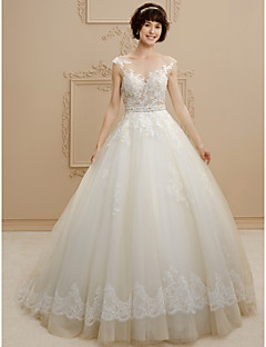 Ball Gown Illusion Neckline Sweep / Brush Train Lace Tulle Wedding Dress with Beading Lace Sashes/ Ribbons by LAN TING BRIDE®