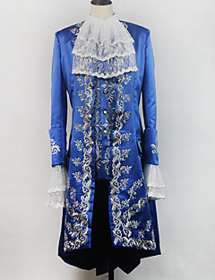 billige Voksenkostymer-Rokoko Kostume Herre Maskerade Party-kostyme Drakter Blå Vintage Cosplay Satin Langermet